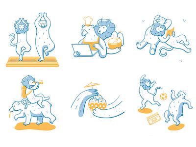 Relationship adventure cooking lion bear line art illustration relationship goals relationship animals illustrated characterdesign illustration