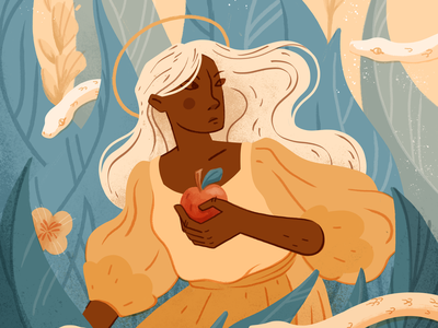 Eve and the apple illustration studio girl power empowerment feminism eve and the snake eve and the apple illustration art flat illustration illustration