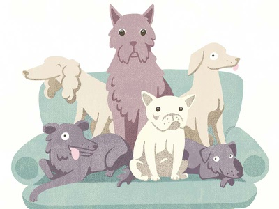 Doggies pastel colours dog dog illustration flat design vector illustration