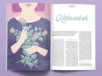 Käthe und ich pastel color magazin flowers vector illustration flat design