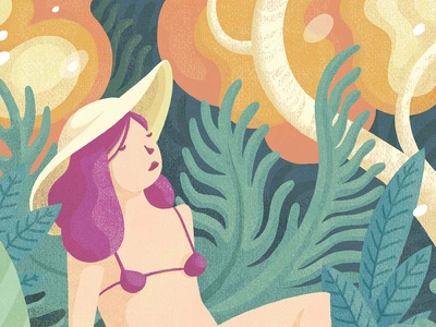 Summer djungle bikini head portrait summer pastel color pastel colours illustration vector flat design