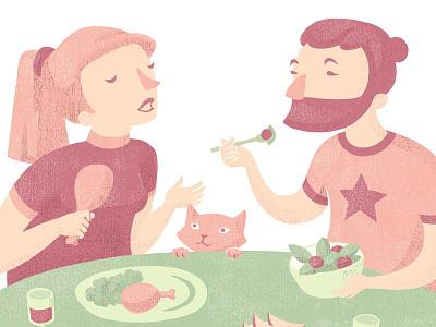 Lunchtime meat veggie lunchtime lunch pastel color vector pastel colours illustration flat design