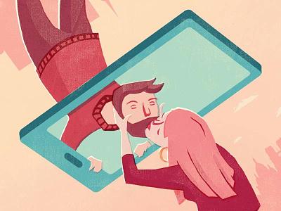 Fernbeziehung pink red relationship kissing love smartphone pastel color flat design illustration