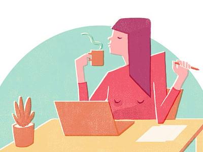 Working desk work flow pastel colours pastel color vector illustration flat design