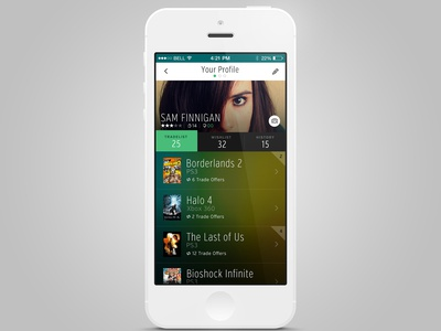 WIP Game Trading Proj. (Profile) apps gaming games ui dark tech green app iphone android ios