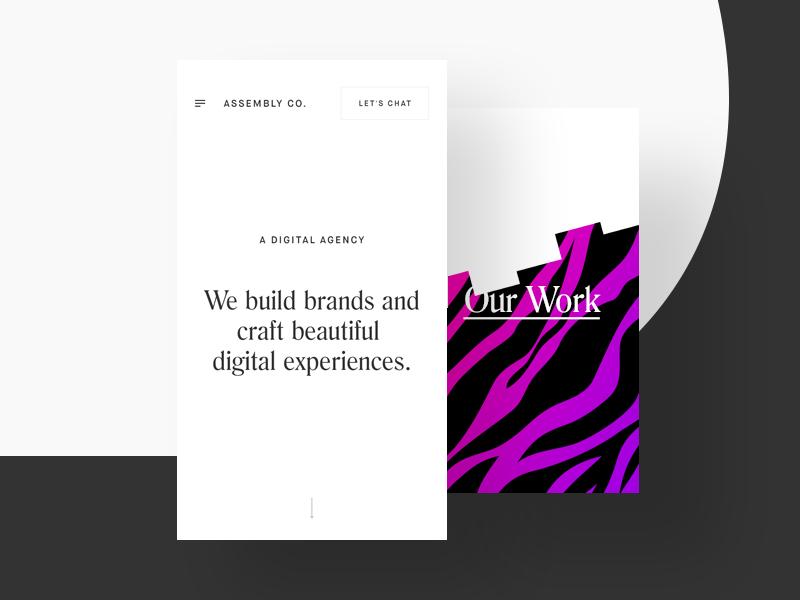 ACO Mobile Site work portfolio mobile menu ios exploration purple pink black