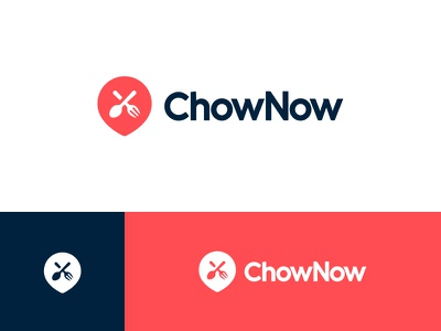 ChowNow - Logo Refresh food pin blue red icon identity mark logo branding brand