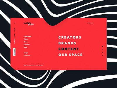 Collab Redesign - Main Menu web website navigation main menu menu black blue red