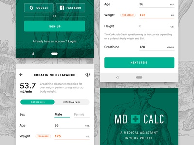 MDcalc redux A android iphone medicine medical ux ui screen app