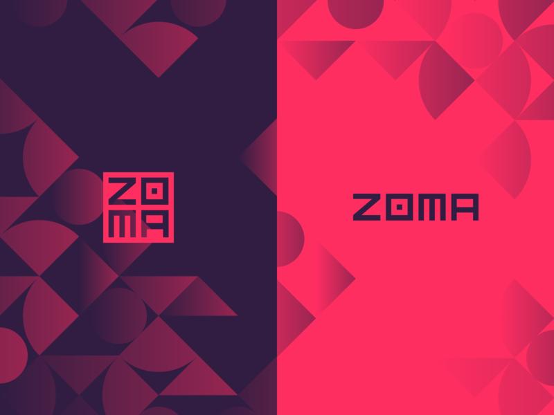 Zoma Identity minimal geometric square cryptocurrency crypto purple red identity brand logo