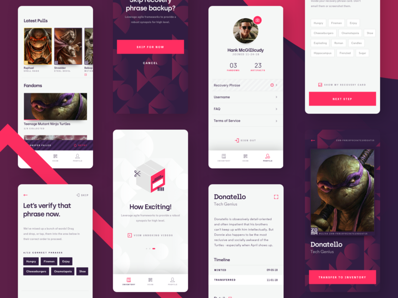Zoma - Mobile App red purple interface android apps mobile ios iphone app ui