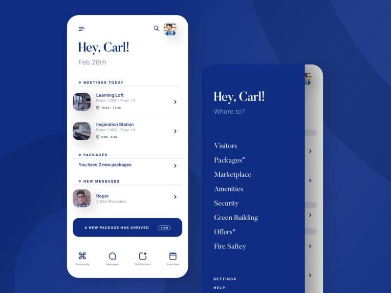 Property Management Platform - Mobile App minimal android blue menu interface apps mobile ios iphone app ui