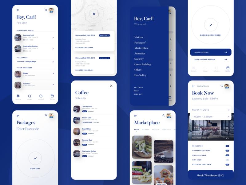 Property Management Platform - Mobile App blue interface menu minimal android apps mobile ios iphone app ui