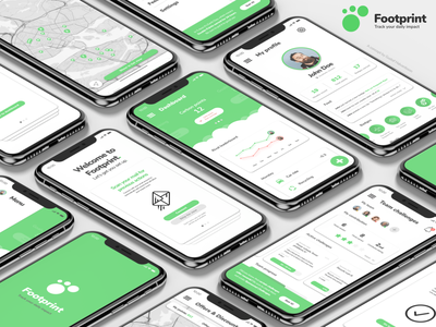 Footprint: Environmental gamification app gamification green environment concept ios app flat design