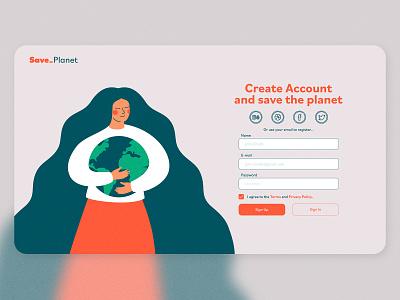 Save Planet Landing Page - Melon.studio design ux ui login design login screen login form login page login landing page design landing design landing page landing web design webdesign website web www.dailyui.co