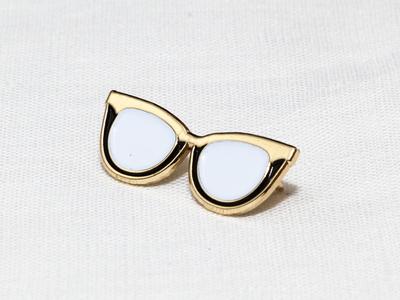 Cat Eye Glasses Enamel Pin