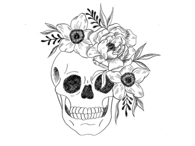 Skull & Flowers Illustration