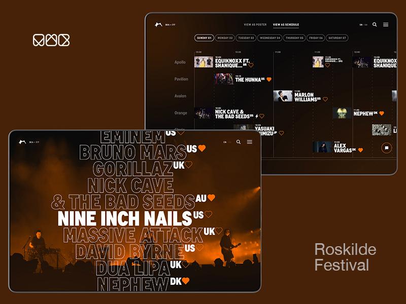 mwb.studio — Roskilde Festival makrelsalatogrugbrød roskilde stages bands horizontal poster line-up schedule outline music festival art direction interface ui
