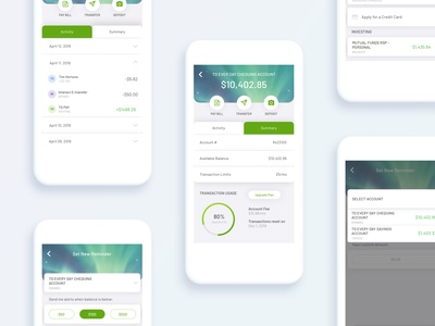 TD Banking App Concept transactions minimalist accounts clean modern banking uidesign uiux