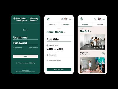 Meeting Rooms — Booking app [Mobile] conference room meeting room app ui uiux design scheduler calendar app icon booking meeting app app design minimal flat