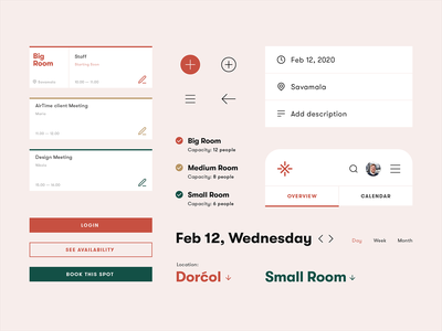 Meeting Rooms — Booking app [UI Components] flat minimal mobile conference room meeting rooms scheduler calendar app app icons colors typogaphy ui components uiux