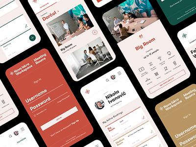 Meeting Rooms — Mobile Screens mobile app icons design booking app scheduler flat minimal conference room meeting rooms calendar app app design uiux ui login screen