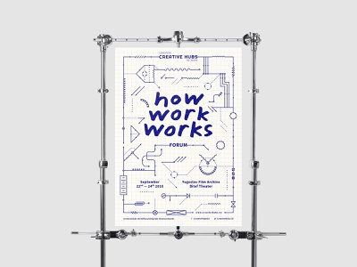 How Work Works — Poster duotone lineart promo switcher identity work forum poster switch diagram circuit electric blueprint conference