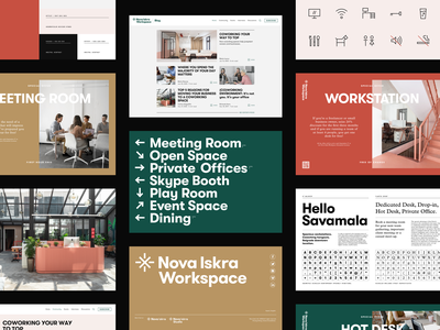 Nova Iskra Workspace — Graphic Standards identity system working space meeting room workspace icon brand guide identity brand identity screens layout branding brand guides logo