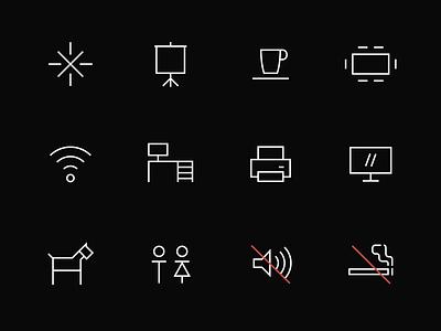 Nova Iskra Workspace — Pictograms toilet no sound no smoking meeting pet friendly wifi workstation identity linear flat icon set desk workspace pictogram icon