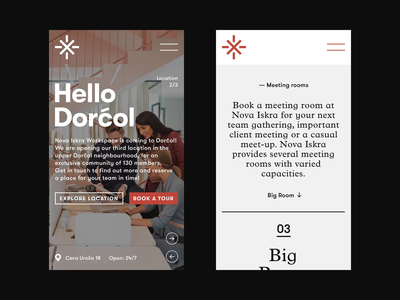 Nova Iskra Workspace — Mobile View motion plans icons interaction interface location booking meeting rooms workstation workspace slider website layout mobile