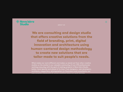Nova Iskra Studio — About services branding logo icon identity design studio about us website geometric illustration flat vector
