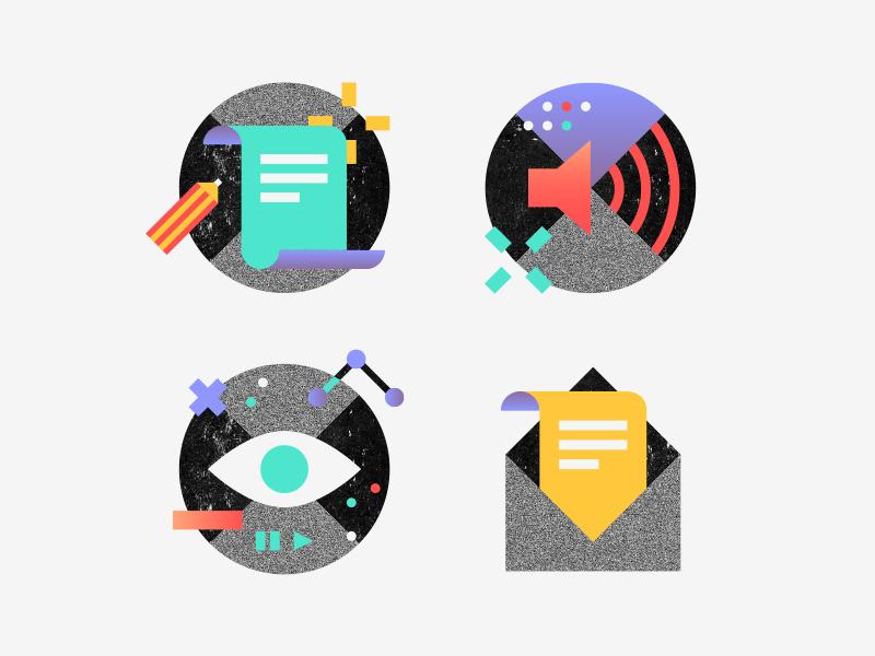 Watch, read, listen newsletter listen read watch pictogram vector illustration icon flat design