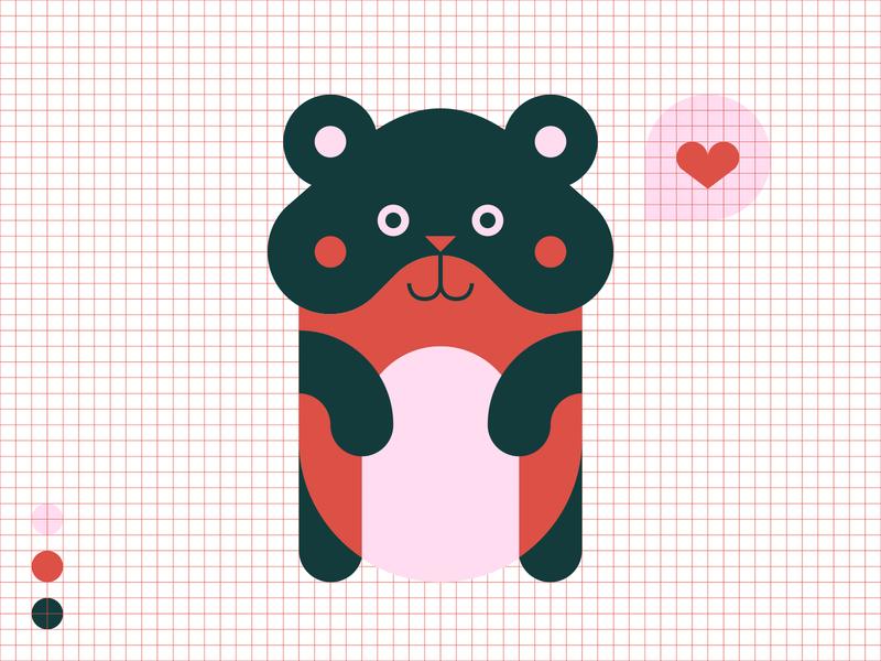 Love You ♥ Love Me character heart 3 colors hamster love valentine valentines day adobe illustrator 2d illustration flat vector design