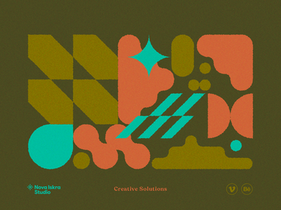 Creative Solutions abstract square oval system retro colorful creative shapes geometric 2d illustration vector flat design