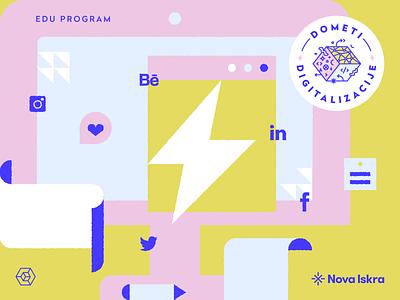 Visual: Range of Digitization seal education edu program computer digital logo identity icon adobe illustrator illustration flat vector design social media