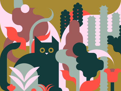 Cat, Cactus & Cacti leaf plants colorful nature plant cacti cactus cat geometric 2d illustration flat vector design