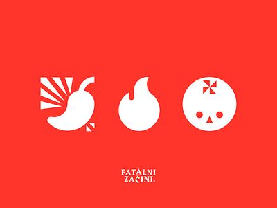 Chili, Death & Tomatoes identity hot pepper tomato spicy death fire chilli chili logo icon illustration vector design