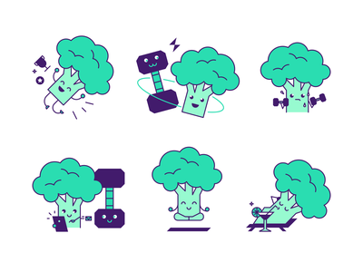 Icons for BrocnBells App gym victory yoga workout health fitness app social platform app icons dumbbell broccoli icon illustration flat vector