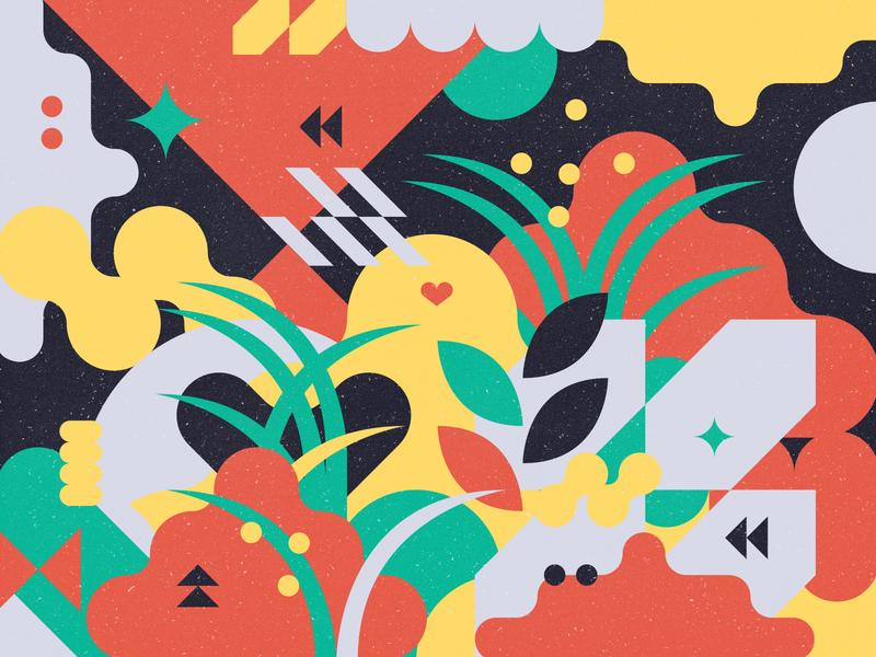 Hidden hide and seek easter egg easter colorful leaf plants geometric flat illustration vector design