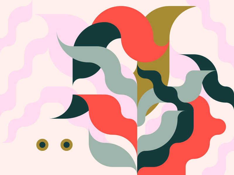 Eyes & Tail natural artistic lines illustration flat vector design colorful plant invisible leaves creature animal eyes