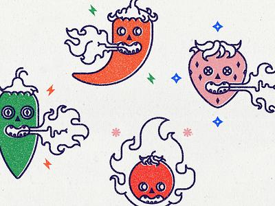 Fatal Spices flat fatal spice icon fire hot pepper tomato jalapeño strawberry chili illustration vector design