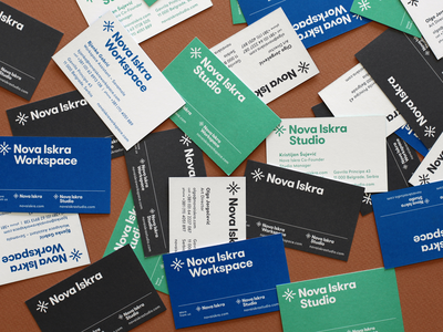 Nova Iskra — Business Cards design identity logo stationery business cards cards system workspace studio contact visit card corporate identity