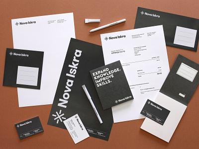 Nova Iskra — Stationery correspondence consistency design system notepad business card invoice envelope memo simple stationery design branding stationery logo identity