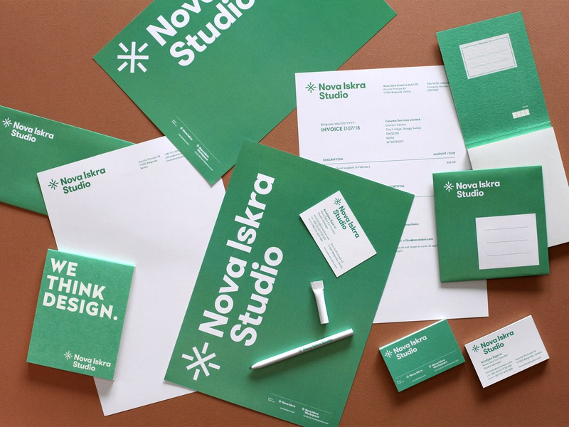 Nova Iskra Studio — Stationery identity logo stationery branding stationery design simple memo envelope invoice business card notepad design system consistency correspondence