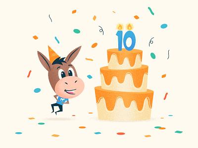 10 years 🎂 startup business 10 years anniversary birthday sticker mule