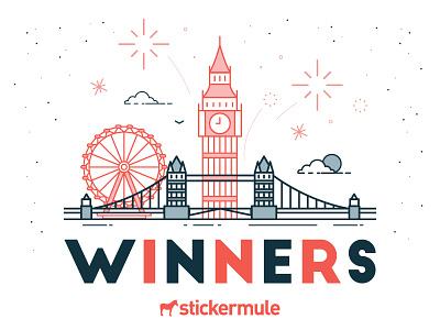 Winners of the UK Sticker Design Playoff winners contest rebound sticker mule stickers playoff uk