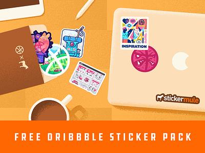 Dribbble sticker pack promo macbook 01