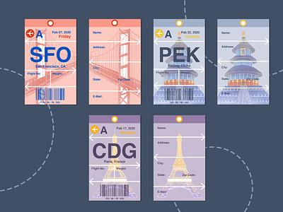 Travel Tag Design cdg pek sfo flight adobe illustrator procreate adobe photoshop illustration typography graphicdesign design travel tag