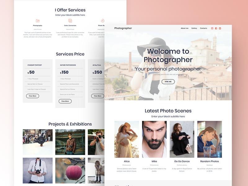 8b Best Website Builder for Photographers brand html css html5 ui ux website design mobile web clean