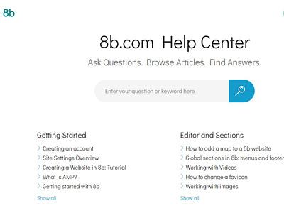 8b Simplest Website Builder   Help Center responsive html5 brand ui ux website mobile web design clean